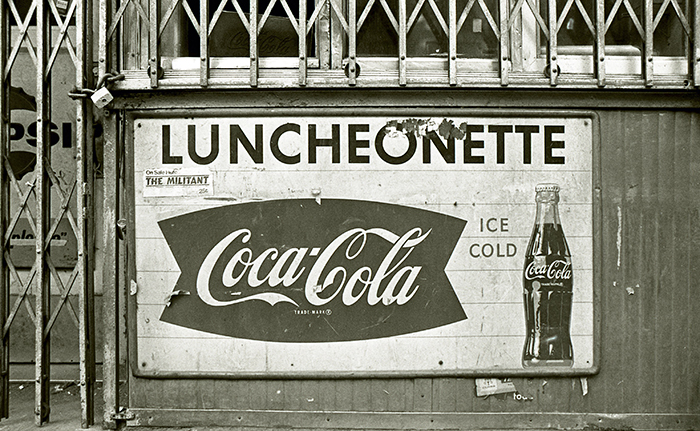 Coca-Cola Luncheonette signboard, Lower East Side, New York City