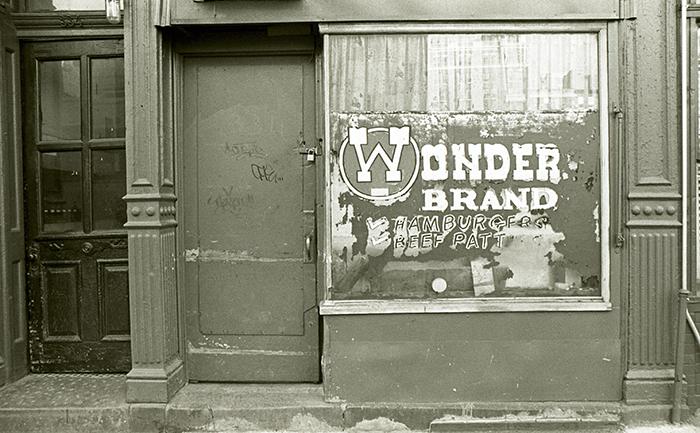 Run-down Wonder Brand grocery store, New York City NY